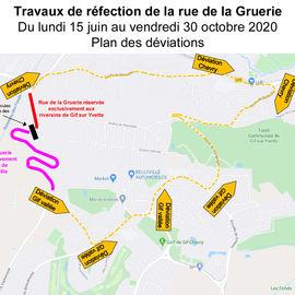 Itinéraire de déviation - Travaux de la rue de la Gruerie