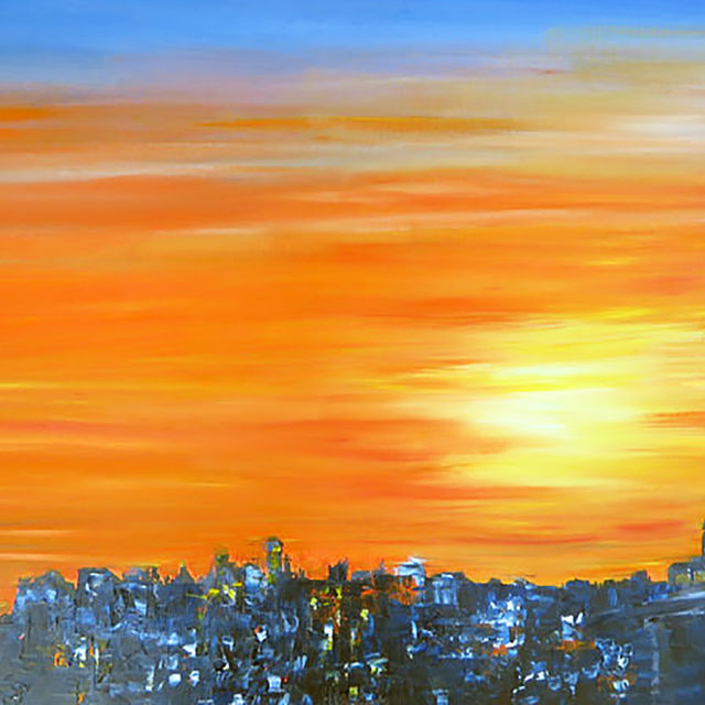 Juste avant le coucher, peinture de Bernard Courtois