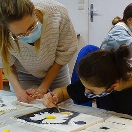 PACTE - Séances de pratique artistique avec la peintre Mireille Blanc - Collège Juliette Adam - Janvier 2021
