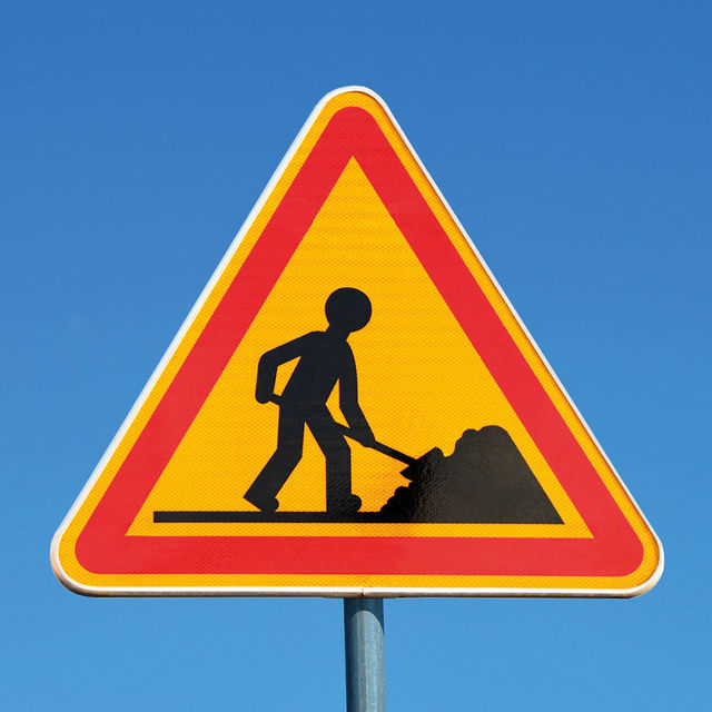 Panneau de signalisation : travaux