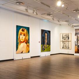 """Exposition """"Histoire, histoires en peintures"""" au Val Fleury  Rez-de-chaussée - Jean-Luc Blanc, Nina Childress, Damien Deroubaix, Yves Bélorgey"""